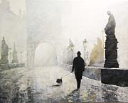 Prague Charles Bridge Morning Walk 01 Print by Yuriy Shevchuk