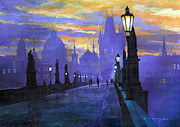 Old Painting Posters - Prague Charles Bridge Sunrise Poster by Yuriy  Shevchuk