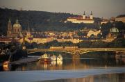 Vltava River Boat Prints - Prague Print by Chris Coe