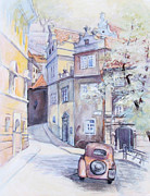Prague Painting Framed Prints - Prague Golden Well Lane Framed Print by Marina Gnetetsky