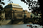 Czech Republic Digital Art Metal Prints - Prague National Theatre Metal Print by Erika Kaisersot