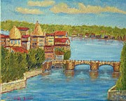 Prague Painting Framed Prints - Prague Old Bridge Framed Print by Michael Brown