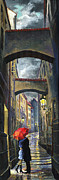 Old Painting Posters - Prague Old Street Love Story Poster by Yuriy  Shevchuk