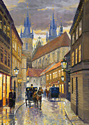 Night Light Prints - Prague Old Street Stupartska Print by Yuriy Shevchuk