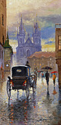 Old Painting Posters - Prague Old Town Square Old Cab Poster by Yuriy  Shevchuk