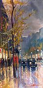 Rain Painting Metal Prints - Prague Old Vaclavske Square 01 Metal Print by Yuriy  Shevchuk