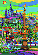 Prague Mixed Media - Prague Panorama with Manesuv Bridge by Yuriy  Shevchuk