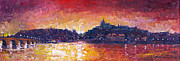 Vltava River Paintings - Prague Red Panorama by Yuriy Shevchuk