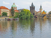 St Charles Bridge Framed Prints - Prague Reflected Framed Print by Ann Horn