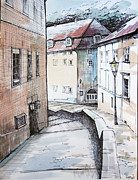 Prague Painting Framed Prints - Prague street Framed Print by Igal Kogan