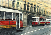 Prague Painting Framed Prints - Prague trams Framed Print by Jiri Zraly