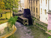 Prague Digital Art - Prague water wheel painting by The Printsery