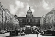 Old And New Prints - Prague Wenceslas Square and National Museum Print by Christine Till