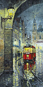 Old Tram Painting Framed Prints - Praha Red Tram Mostecka str  Framed Print by Yuriy  Shevchuk