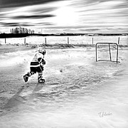 Minor Hockey Digital Art - Prairie Back Yard Rink by Elizabeth Urlacher