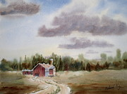 Prairie Sky Paintings - Prairie Barn 2 by Mohamed Hirji