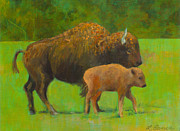 Bison Originals - Prairie Bison and Calf by Linda Pence