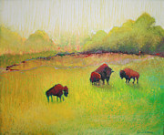 Bison Pastels - Prairie Bison by Jane Wilcoxson