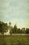 Wooden Building Posters - Prairie Church Poster by Margie Hurwich