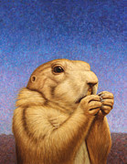 Blue Posters - Prairie Dog Poster by James W Johnson