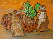 Basket Pyrography Prints - Prairie Dogs Print by Mike Holder