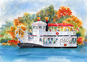 Ink Paintings - Prairie Lily Riverboat by Pat Katz