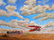 Biplane Paintings - Prairie Runway by Mohamed Hirji