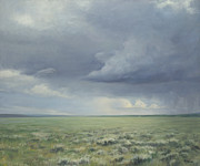 Yellowstone Paintings - Prairie Storm by Terry Guyer