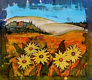 Batik Tapestries - Textiles Posters - Prairie wildflowers Poster by Carolyn Doe