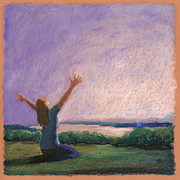 Praying Hands Pastels Framed Prints - Praise and Worship 3 Framed Print by Logan Gerlock