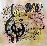 Music Score Paintings - Praise God From Whom All Blessings Flow by Meldra Driscoll