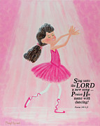 Child Ballerinas Prints - Praise Him with Dancing Print by Cheryl Hymes
