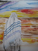 Prayer Shawl Paintings - Pray for Israel by Rachael Pragnell