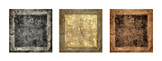 Fabric Collage Posters - Prayer Flag Triptych Series Two Poster by Carol Leigh