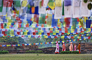 Buddhist Monks Framed Prints - Prayer flags and novice monks at Lumbini in Nepal Framed Print by Robert Preston