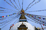 Stupa Prints - Prayer Flags and Stupa in Kathmandu Print by Robert Preston