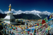 Stupa Prints - Prayer flags Print by James Brunker
