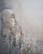 Prayer Pastels Prints - Prayer Print by Hege Jasmin Andersen