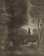 Christianity Drawings - Prayer of Jesus in the Garden of Olives by Antique Engravings