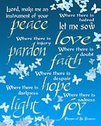 Ginny Gaura - Prayer of St Francis - Blue Butterflies
