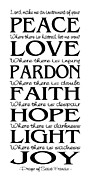 Typographic Prints - Prayer of St Francis - Subway Style Print by Ginny Gaura