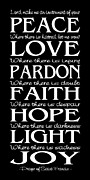 Typographic Prints - Prayer of St Francis - Subway Style - Reversed Type Print by Ginny Gaura
