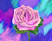 Praying Hands Digital Art Prints - Prayer Rose  Print by Ellie Taylor