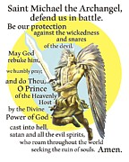 Prayer To St. Michael The Archangel Print by Dave Luebbert