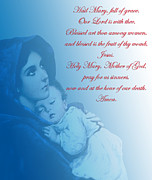 Baby Jesus Mixed Media Prints - Prayer to Virgin Mary 2 Print by A Samuel