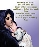 Baby Jesus Mixed Media Prints - Prayer to Virgin Mary 3 Print by A Samuel