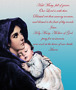 Baby Jesus Mixed Media Prints - Prayer to Virgin Mary Print by A Samuel