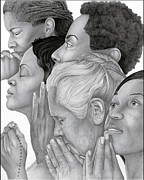 African-american Drawings - Prayer Warriors by Ron Watson