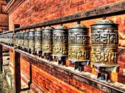 Chanting Prints - Prayer Wheels Print by Susan Buechel