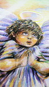 Angel Drawings - Praying Angel by Lucia Parga-Navarro